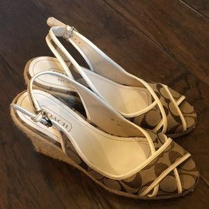 Coach Kara Wedge Sandal White Trim Slingback Sz 7